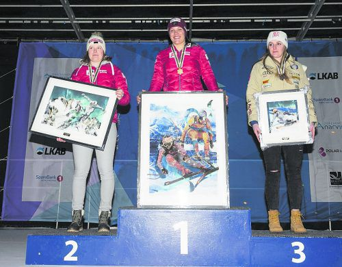 Magdalena Egger besetzte bei der Junioren-WM in Narvik den Siegerthron gleich zwei Mal, Lisa Grill holte hinter der goldenen Lecherin jeweils Silber.Jan-Arne Pettersen/narvik2020.no; cg