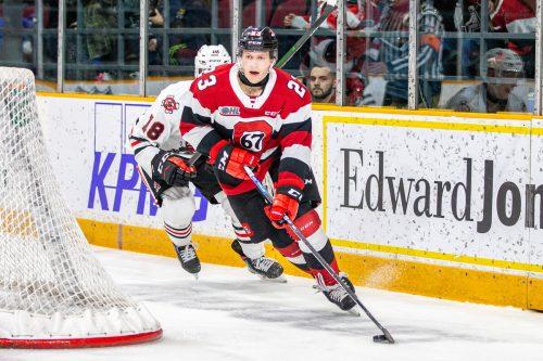 Marco Rossi holte sich in Kanada den Titel des Topscorers in der OHL. Aktuell muss er sich wegen der Coronavirus-Pandemie in der Heimat fit halten. Wutti/Blitzen