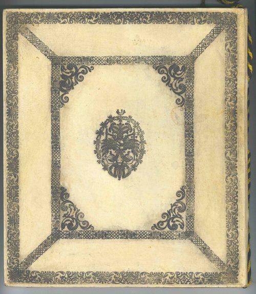 Pergamenteinband des Adelsbriefes mit kaiserlichem Doppeladler.