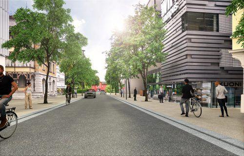 So soll die Bahnhofstraße ab Herbst aussehen: Breite Gehsteige, Bäume und keine Quer-Parkplätze. Stadt