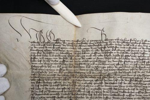 Urkunde von Hugo von Montfort aus dem Jahr 1420. Vorarlberger Privatsammlung, Foto: Sabo