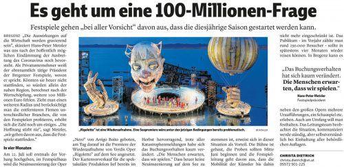 VN-Bericht vom 21. März: Die Bregenzer Festspiele sollen am 22. Juli gestartet werden.