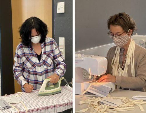 Bügeln, zuschneiden, nähen – die coronabedingte Untätigkeit wurde auch von den Pädagoginnen in Lauterach für eine großangelegte Nähaktion genützt. stp