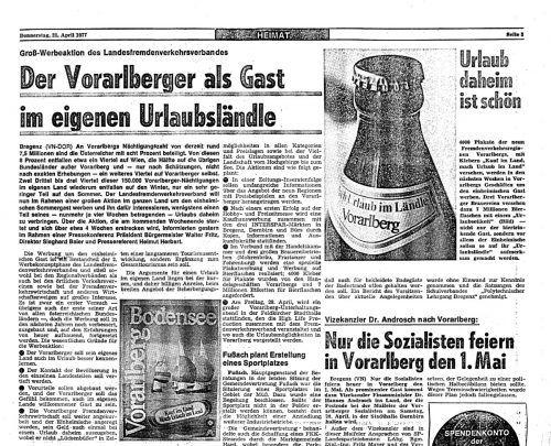 Ein Ausschnitt aus den VN vom 21. April 1977.