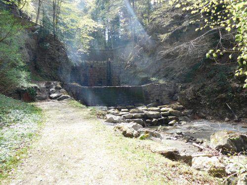 Hinter dem Wasserfall in der Örflaschlucht soll eine neue Wildholzrechenanlage entstehen. Mäser