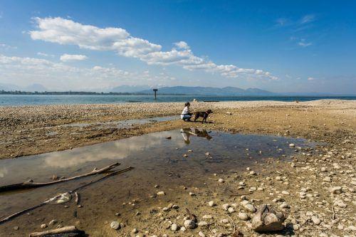 Lokalaugenschein am Bodensee. Laut dem Expterten der ZAMG gibt es im Wettersystem es immer wieder mehrjährige Phasen, in denen es trockener ist.VN/Paulitsch