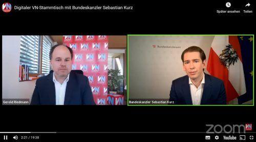 VN-Chefredakteur Gerold Riedmann (l.) stellte Bundeskanzler Sebastian Kurz am Freitag die Fragen der VN-Leser.