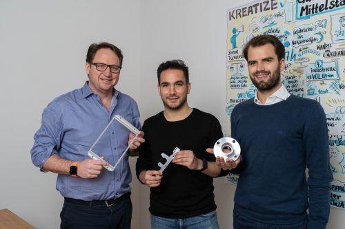 Das Team von Kreatize: Thomas Hoffmeister (CCO), Simon Tüchelmann (CEO), Daniel A. Garcia Rodriguez (CTO). Benjamin Ludigs
