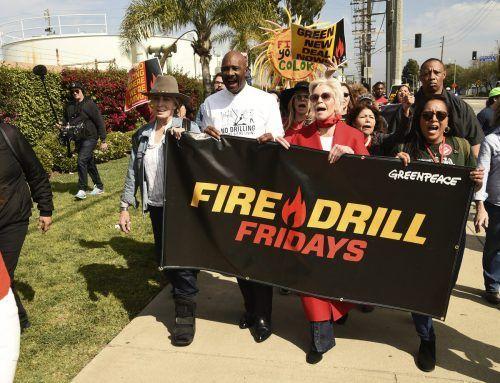 """Inzwischen organisiert Jane Fonda die """"Fire Drills""""-Proteste auch in Kalifornien. An ihrer Seite stehen Promis wie Joanna Cassidy. AP"""