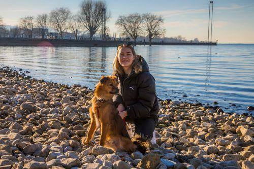 Olga und ihr Hund Luan lassen sich nicht von einem Spaziergang am Bregenzer Bodenseeufer abhalten. VN/Paulitsch