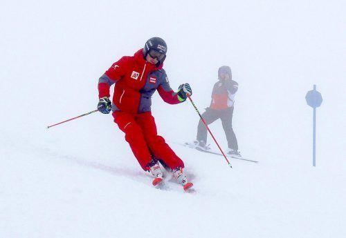 Trotz Schlechtwetter genoss Patrick Feurstein die Schwünge im Schnee.öSV-Aichner