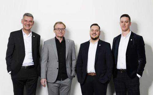 Führungsteam: Harald Dür (Geschäftsleitung), Christoph Brunner (Leiter Schadenabteilung), Thomas Nußbaumer (Geschäftsleitung), Emanuel König (Vertrieb). comit