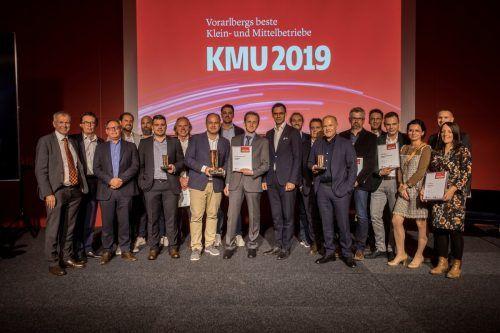 Die Gewinner der KMU-Preise 2019 zeigen, wie vielfältig die Vorarlberger KMU sind - von regionalen Dienstleistern bis zu weltweit tätigen Spezialisten.VN/Paulitsch