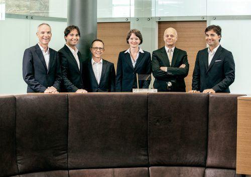 Die RTG-Partner (v. l.) Alfred Geismayr, Ferdinand Schurz, Peter Kögl, Birgit Jochum, Manfred Rümmele und Leopold Schurz.FA