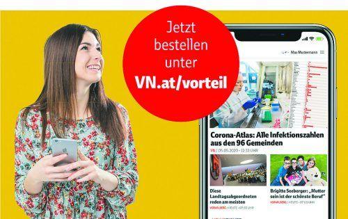 Digitaler Qualitätsjournalismus zum Vorteilspreis: Für Abonnenten der täglich gedruckten VN gibt es die digitalen VN einen Monat lang gratis.vn