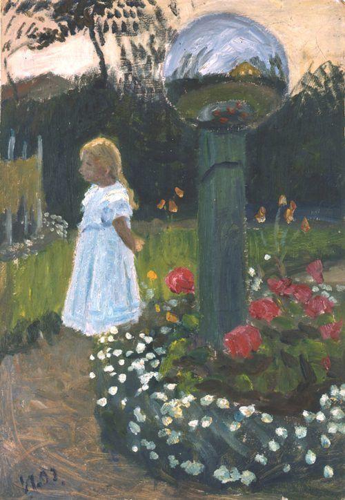 Elisabeth im Garten von Otto Modersohn, 1903.