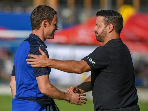 Ex-Altach-Trainer Werner Grabher (links) und Langeneggs Klaus Nussbaumer werden sich im Herbst bei Spielen von Hohenems und Rotenberg wiedersehen.VN-Lerch
