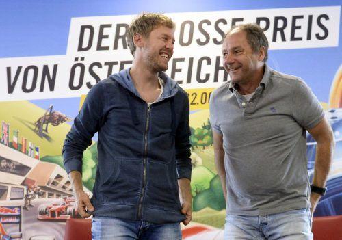 Gerhard Berger (r.) wünscht sich Sebastian Vettel in die Masters-Serie.pa