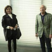 """<p class=""""caption"""">Grete Eberle und Jürg Zumtobel waren ebenso unter den Kunstfans.</p>"""