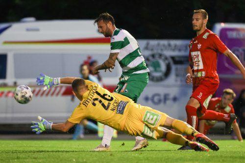 In dieser Aktion erzielte Lukas Katnik den Treffer zum 1:1 beim GAK für Austria Lustenau.gepa
