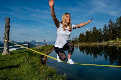 Katharina Liensberger freut sich über jeden Tag beim Schneetraining. Gepa/lerch, Steiner
