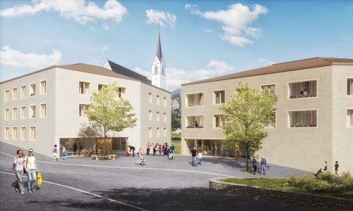 So soll der fertige Wohn- und Geschäftskomplex in der Hauptmann-Frick-Straße in Frastanz aussehen.Hefel