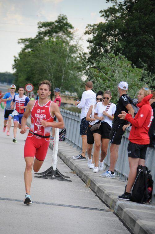 Auf der Laufstrecke verlor Leon Pauger seine Führung nach der zweiten Disziplin.Verein (2)