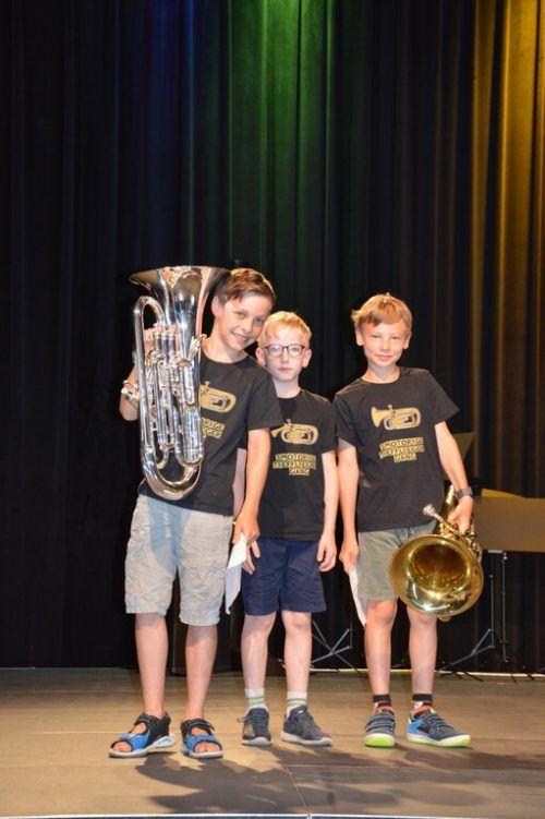 Die jungen Blasmusiker auf der Freudenhaus-Bühne.