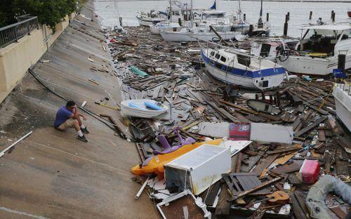 """In Corpus Christi wirbelte """"Hanna"""" über den Yachthafen. ap"""