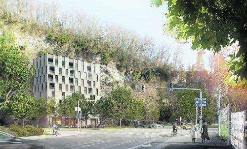 """So soll das Gebäude des als multifunktional konzipierten """"Kapfturm"""" nach Fertigstellung aussehen. Dietrich Untertrifaller Architekten"""