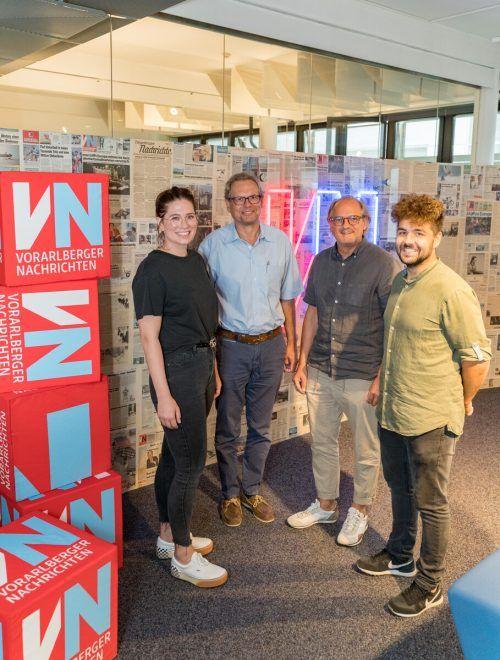 Stefanie Huber, Johannes Collini, Christian Thaler und Marcel Thaler sind überzeugt, dass die Kooperation für Lehrlinge, Betriebe und Standort gut ist.VN/Stiplovsek