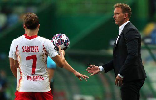 Bei beiden ist die Hoffnung auf den Endspiel-Einzug gegeben: Bei Marcel Sabitzer (links) und dessen Trainer Julian Nagelsmann.AP