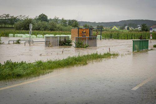 Das Bild zeigt Überflutungen bei Mank im Bezirk Melk. APA
