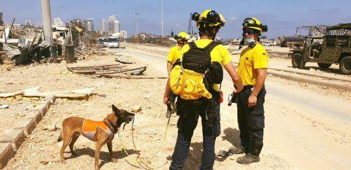Der Auftrag des freiwilligen Helferteams rund um Markus Stengele (r.): Lebende Menschen in den Trümmern finden. stengele