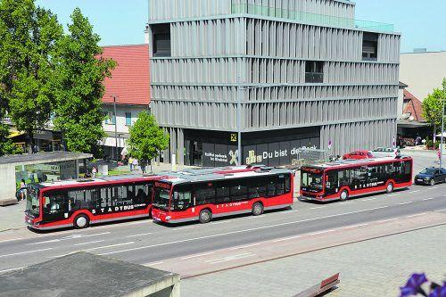 Derzeit werden mit den Dornbirner Stadtbussen täglich rund 13.000 Fahrgäste befördert. STD