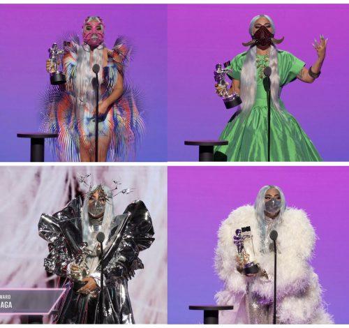 Die 34-jährige Lady Gaga zeigte sich mehrfach auf der Bühne - immer in unterschiedlichen ausgefallenen Kostümen und immer mit Mund-Nasen-Schutz. Reuters