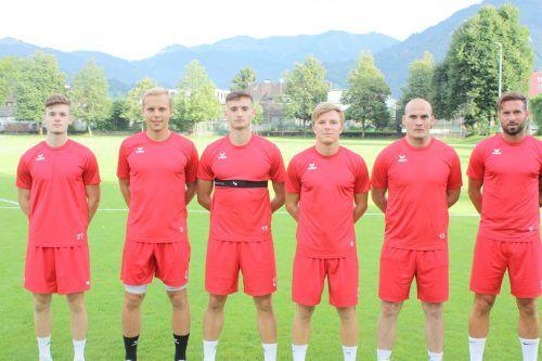Die bisherigen sechs Neuzugänge des FC Dornbirn: Tom Zimmerschied, Leonardo Zottele, Adem Draganovic, Lars Nussbaumer, Mario Jokic, Lukas Katnik.Knobel