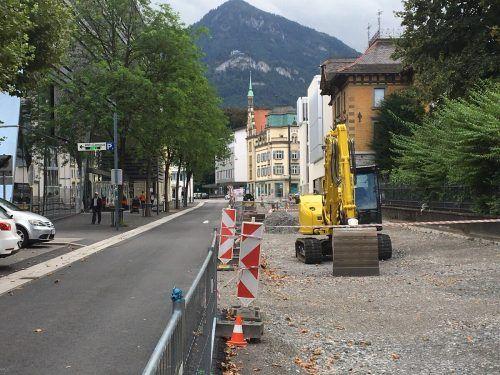 Die Sanierung der Dornbirner Bahnhofstraße ist in vollem Gange.VN-pes