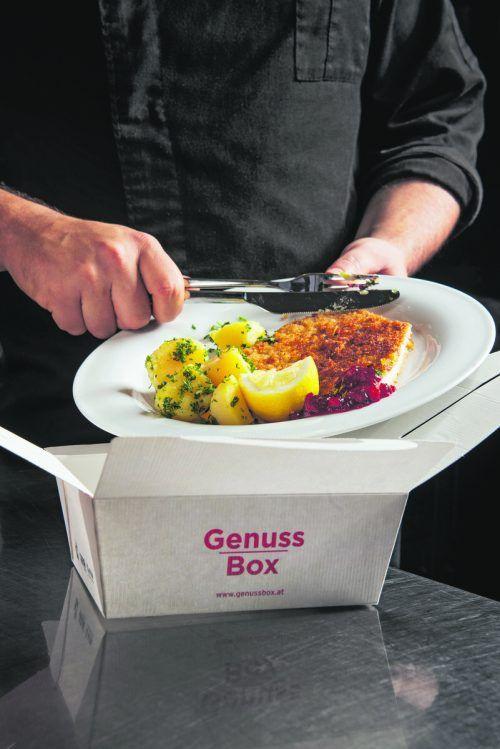 Genuss Box als praktisches Mitnahme-Behältnis für späteren Essensverzehr.