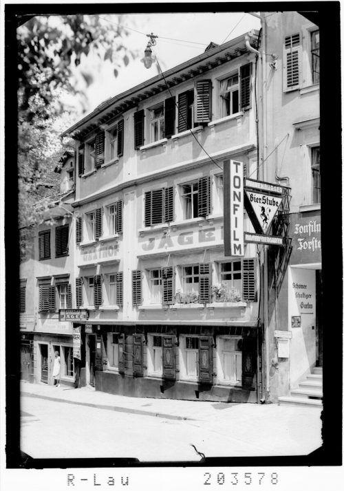 Lang ist's her, als man im Gasthof Jäger einkehren oder im Forstersaalkino in der Kirchstraße einen Film anschauen konnte.Sammlung Risch-Lau, Vlbg Landesbibliothek