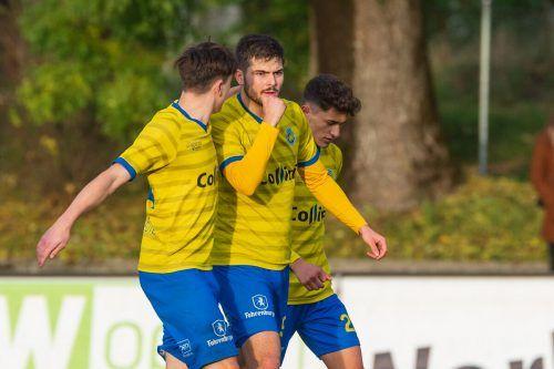 Maurice Wunderli (Mitte) hat bereits zwei Treffer auf seinem Torkonto. Heute sollen gegen den FC Lauterach weitere folgen.Stiplovsek