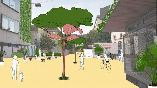 Straßencafés, Bäume, begrünte Fassaden: Geht es nach den Bregenzer Grünen, dann soll die Montfortstraße bald so aussehen. Grüne