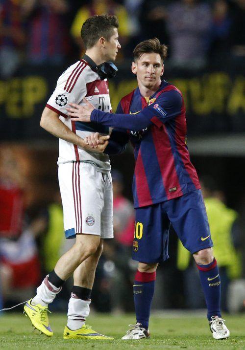 Wiedersehen in der CHL: Robert Lewandowski und Lionel Messi. reuters