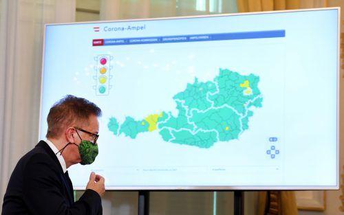Am 4. September präsentierte Rudolf Anschober Maßnahmen für die Ampelschaltung. Diese wurden mittlerweile offline genommen. APA