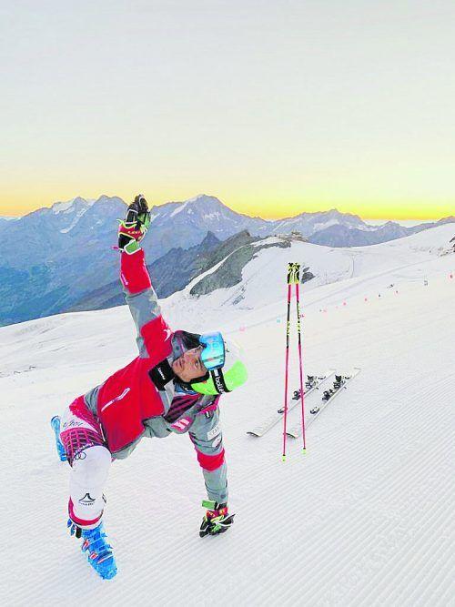 Aufwärmen für die neue Skisaison. Daniel Meier bereitete sich in Saas Fee mit Kapazundern wie Alexis Pinturault auf die internen ÖSV-RTL-Vergleiche vor.pr