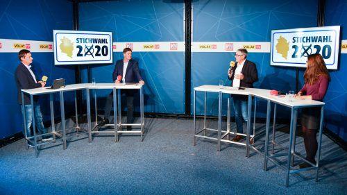 Bei der finalen Stichwahldebatte von VN.at, VOL.at und Ländle TV lieferten sich Bürgermeister Wolfgang Matt (VP) und Herausforderer Daniel Allgäuer (FP) im Wahlstudio in Schwarzach eine sachliche Diskussion.VN/Lerch