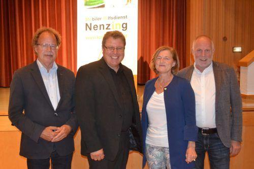 Bgm. Florian Kasseroler, Angela Jäger (Hauskrankenpflege Vorarlberg), Obmann Frank Stecher und Wolfgang Rothmund (Hauskrankenpflege Vorarlberg).EM