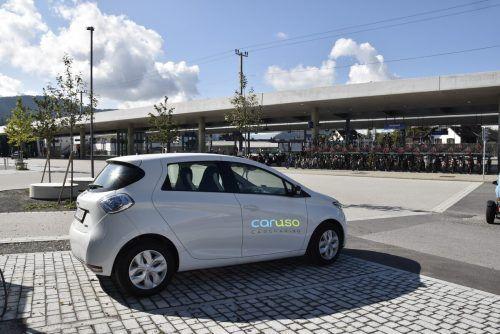 Das E-Auto von Caruso Carsharing am Bahnhof Rankweil. Marktgemeinde