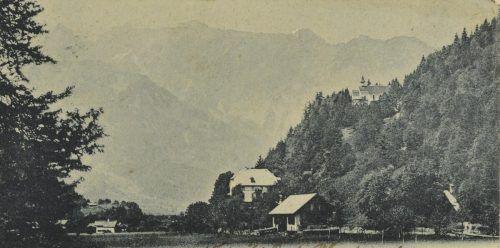 Der Blick von Schuns hinaus zum Kloster im Jahr 1901.