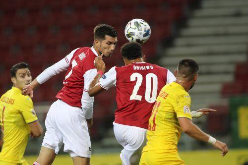 Der Ex-Altacher Adrian Grbic verpasst knapp, doch Karim Onisiwo ist da und erzielt den zweiten Treffer der Österreicher.gepa
